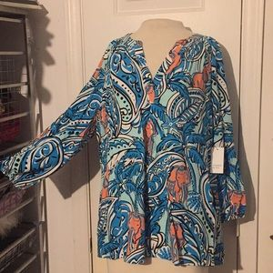 NWT Crown&Ivy XL turquoise coral elephant blouse
